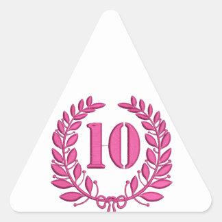 Pegatina Triangular imitación de 10 enhorabuena del bordado