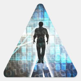 Pegatina Triangular Instrucción de Digitaces como concepto de la