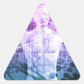 Pegatina Triangular Investigación de la ciencia como concepto para la