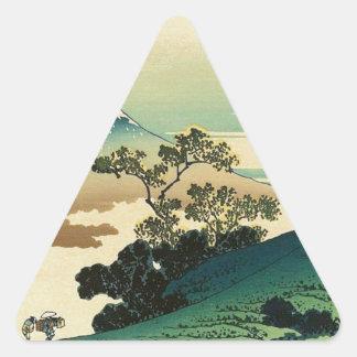 Pegatina Triangular Koshu Inume Toge - arte de Katsushika Hokusai