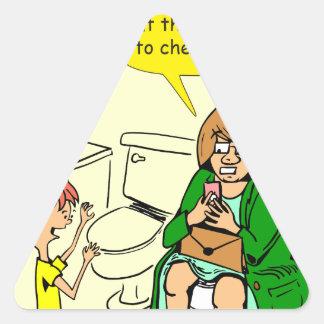 Pegatina Triangular La abuela 903 está comprobando el dibujo animado