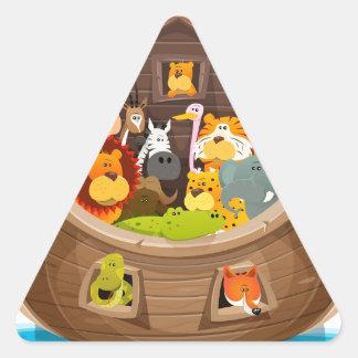 Pegatina Triangular La arca de Noah con los animales de la selva