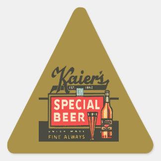 Pegatina Triangular La cerveza especial de Kaier