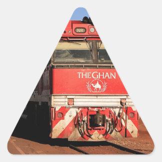 Pegatina Triangular La locomotora del tren de Ghan, Darwin