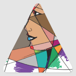Pegatina Triangular La mujer abstracta de Stanley Mathis