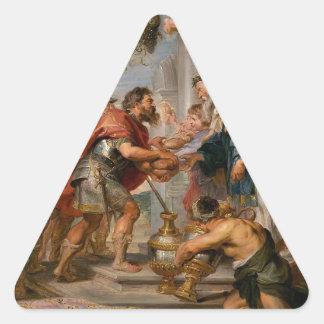 Pegatina Triangular La reunión de Abraham y del arte de Melchizedek