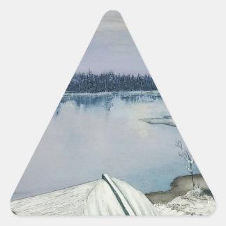 Pegatina Triangular Lago forest