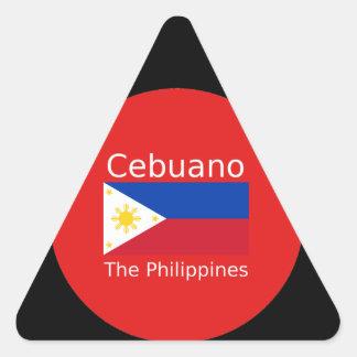 Pegatina Triangular Lengua de Cebuano y bandera de Filipinas