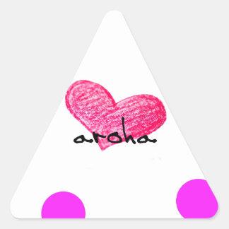 Pegatina Triangular Lengua maorí del diseño del amor
