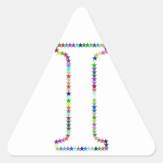 Pegatina Triangular Letra I de la estrella del arco iris