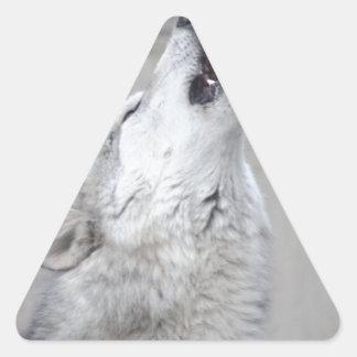 Pegatina Triangular Lobo gris del grito