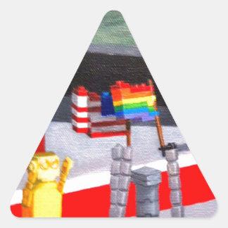 Pegatina Triangular Los E.E.U.U. y banderas del orgullo hechas de