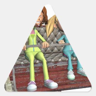 Pegatina Triangular Madre e hija del dibujo animado en una noria