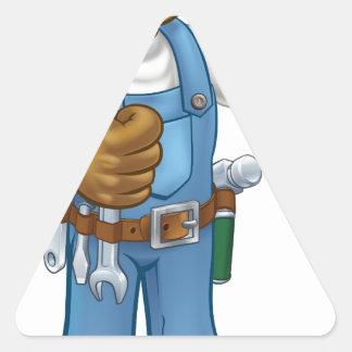 Pegatina Triangular Manitas del mecánico o del fontanero con la llave