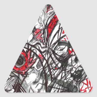 Pegatina Triangular Manos del dibujo de la pluma de la rabia