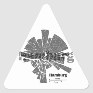 Pegatina Triangular Mapa de Hamburgo