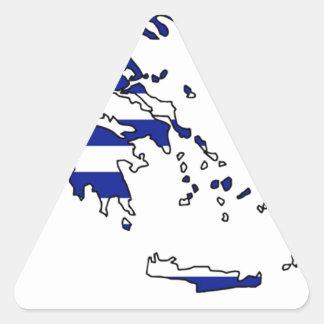 PEGATINA TRIANGULAR MAPA DE LA BANDERA DE GRECIA