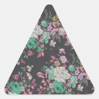 Pegatina Triangular modelo floral del tema de las flores elegantes del