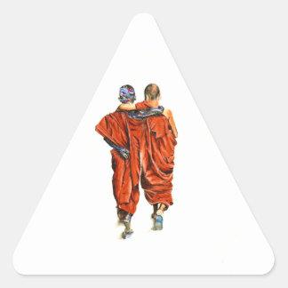 Pegatina Triangular Monjes budistas