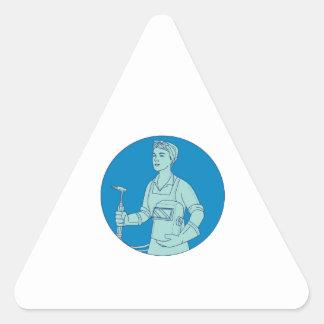 Pegatina Triangular Mono línea del soldador de la antorcha femenina de