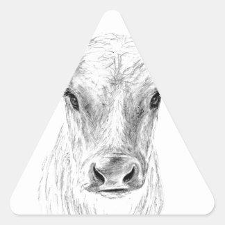 Pegatina Triangular MOO una vaca joven del jersey