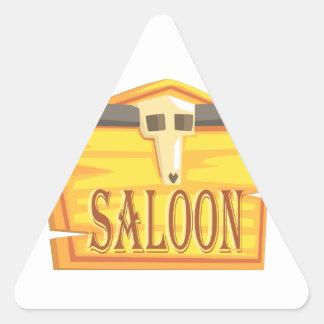 Pegatina Triangular Muestra del salón con el dibujo de la cabeza