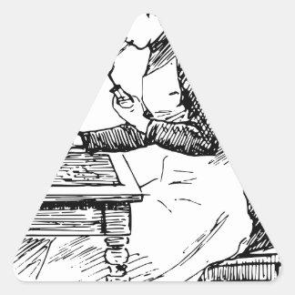 Pegatina Triangular Mujer que usa el aerógrafo viejo