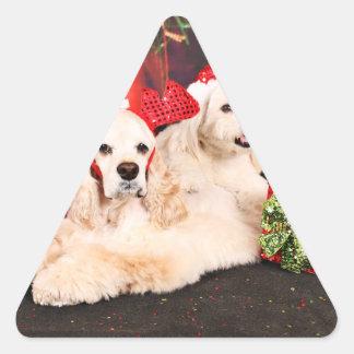 Pegatina Triangular Navidad - cocker - Toby, Havanese - poco T
