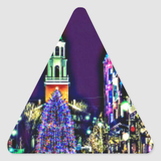 Pegatina Triangular Navidad en ciudad