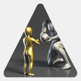 Pegatina Triangular Niño de enseñanza del padre como concepto en 3D