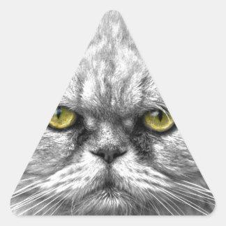 Pegatina Triangular Ojos de gato de oro enojados