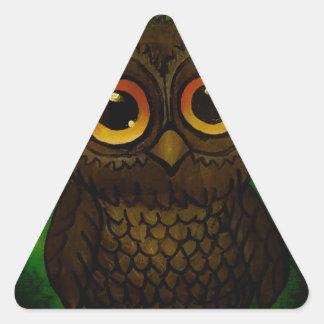Pegatina Triangular Ojos tristes del búho