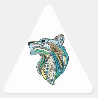 Pegatina Triangular Ornamento étnico principal del lobo