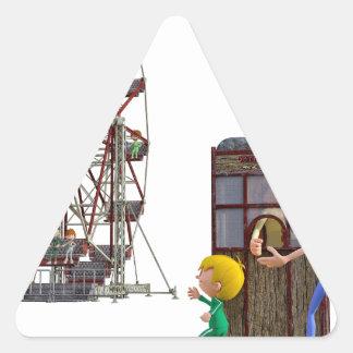 Pegatina Triangular Padre e hijo listos para montar una noria