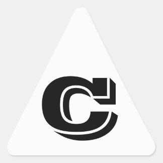 Pegatina Triangular Pegatinas blancos del triángulo de la letra C