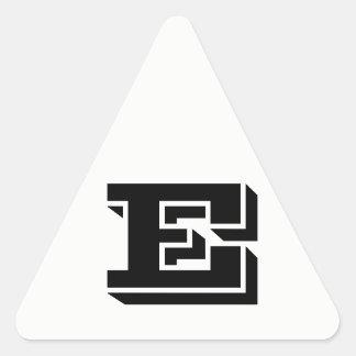 Pegatina Triangular Pegatinas blancos del triángulo de la letra E