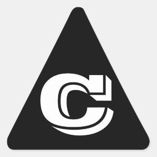 Pegatina Triangular Pegatinas negros del triángulo de la letra C
