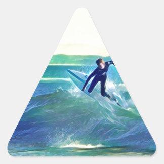Pegatina Triangular Persona que practica surf