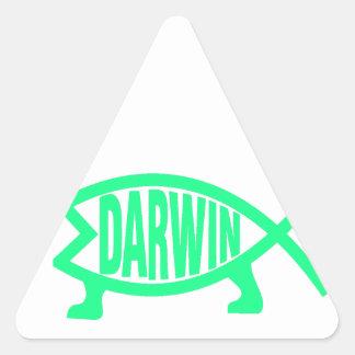 Pegatina Triangular Pescados originales de Darwin (Seafoam)