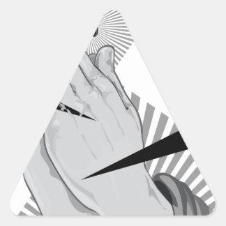 Pegatina Triangular Pintada de rogación de las manos