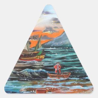 Pegatina Triangular Pintura de Bell del chapucero de la ensenada del
