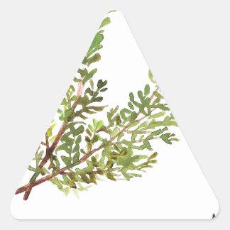 Pegatina Triangular Pintura del watercolour de Rosemary de la hierba