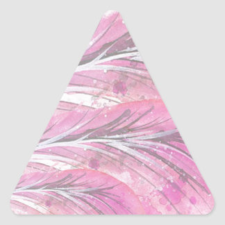 Pegatina Triangular plumas, color de rosa ligero, elegante,
