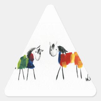 Pegatina Triangular Pocos potros del arco iris