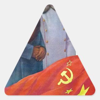 Pegatina Triangular Propaganda original Mao Zedong y Joseph Stalin