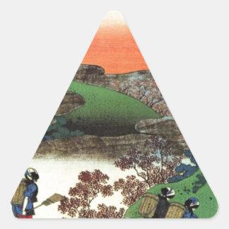 Pegatina Triangular Pueblo japonés