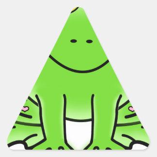 Pegatina Triangular Rana de Forest Green de la lluvia