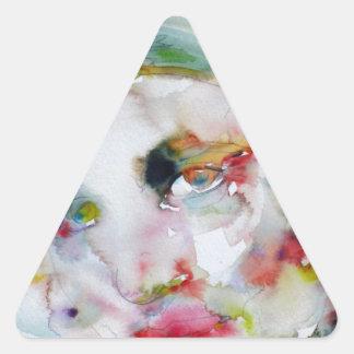 Pegatina Triangular rand del ayn - retrato de la acuarela