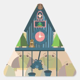 Pegatina Triangular Reloj de cuco con el papel de empapelar de la
