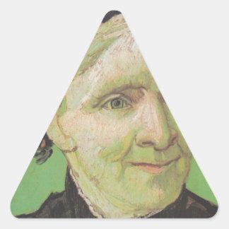 Pegatina Triangular Retrato de Vincent van Gogh del arte de la madre